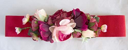 Cinturón elástico rojo con adorno de flores. Envío GRATIS 72h