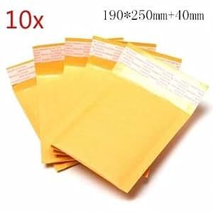 Bheema 10pcs 250 * 200mm + 40mm enveloppe à bulles couleur jaune sac de papier kraft / expéditeurs enveloppe