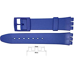 New 17mm (20mm) Sized Resin Strap Compatible for Swatch® Watch – Blue – RG14B