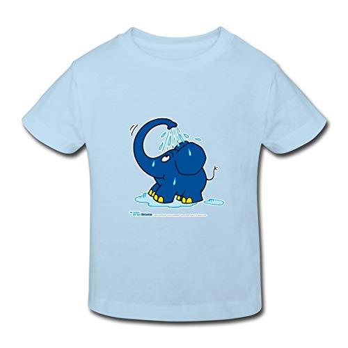 Continental Mädchen T-shirt (Spreadshirt Sendung Mit Dem Elefanten Kleiner Elefant Dusche Kinder Bio-T-Shirt, 110/116 (5-6 Jahre), Hellblau)