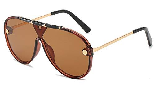 DAIYSNAFDN Frauen übergroße Vintage Sonnenbrille Männer Runde Eyewear Uv400 Tea Tea