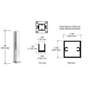C.R. LAURENCE D990BA18C CRL Brite Anodized 18 Center Design Series Partition Post by C.R. Laurence