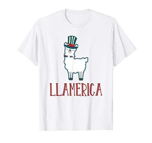 AMERIKANISCHE  4. JULI HEMDEN NIEDLICH LAMA LAMERICA T-Shirt (T-shirts Niedlich, Juli Vierter)