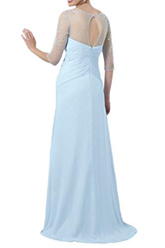Promgirl House Damen 2016 Rein Chiffon V-Ausschnitt A-Linie Ball Cocktail Abendkleider mit Lange Aermel Rot
