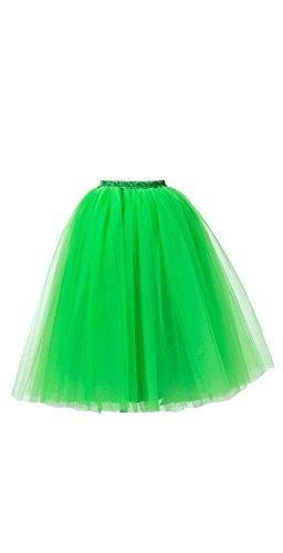 Honeystore Damen's Lang Ballet Petticoat Abschlussball Party Zubehör Tutu Unterkleid Rock Grün (Superwoman Tutu Kostüm Mit)