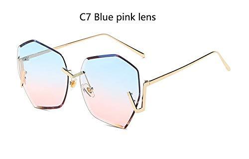LAMAMAG Sonnenbrille Randlose Gradient Klare Sonnenbrille Frauen Übergroße Promi Blaue Linse Sonnenbrille Für Männer Gebogene Beine, 7