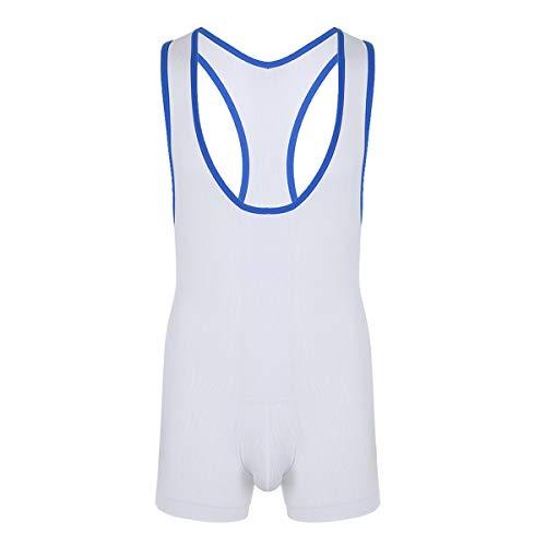 iEFiEL Herren Unterhemd Wrestling Singlet Body Overalls Muskelshirt Dessous Fitness Atmungsaktives Bodysuit Schwarz Weiß X-Large
