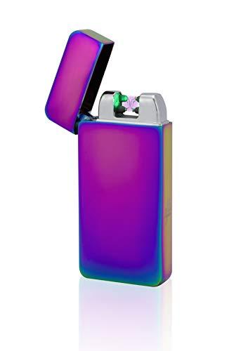 feuerzeug ohne gas Tesla-Lighter T10 | Lichtbogen Feuerzeug mit Photosensor, Plasma Double-Arc, elektronisch wiederaufladbar, aufladbar mit Strom per USB, ohne Gas und Benzin, mit Ladekabel, in edler Geschenkverpackung, Regenbogen