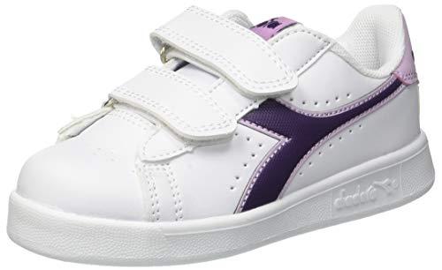Diadora game p ps, scarpe da ginnastica unisex – bambini, multicolore (wht/blackberry cordial/winsome c7630), 29 eu