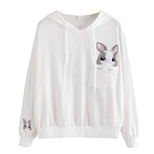 MEIbax Oto?o Mujeres Casual Color de la Mujer de Manga Larga Sudadera con Capucha Sudadera con Capucha Conejo Jersey Jumper t-Shirts Personalizar Camiseta Promocional Camisetas Hermosas Blanco