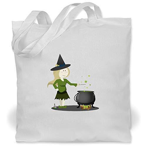 Shirtracer Halloween - kleine Hexe - Unisize - Weiß - WM101 - Stoffbeutel aus Baumwolle Jutebeutel lange - Aktuelle Event Kostüme Ideen