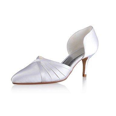 Rtry Femmes Chaussures Pompe Mariage Base Stretch Satin Printemps Eté Fête Mariage & Amp; Sera Ruffles Talon Aiguille Blanc 3a-3 3 / 4en Blanc Us6 / Eu36 / Uk4 / Cn36 Us10.5 / Eu42 / Uk8.5 / Cn43