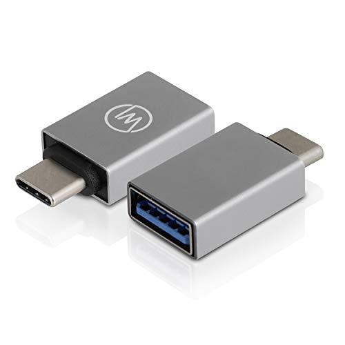 Wicked Chili USB 3.2 Gen1 SuperSpeed USB A auf USB C OTG Adapter - USB C Adapter (2er Set) kompatibel mit iPad Pro 2018, iMac und MacBook Pro mit Thunderbolt 3 - (Aluminium, 5 GBit/s) spacegrau - Ipad-tastatur Mit Usb-anschluss