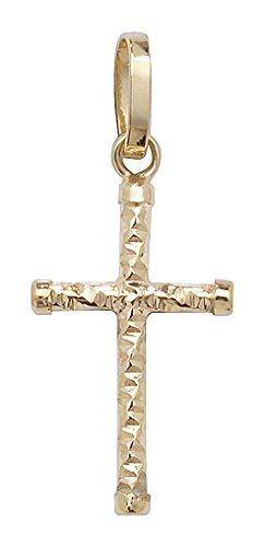 Or 9ct Pendentif Croix sur un collier de Belcher