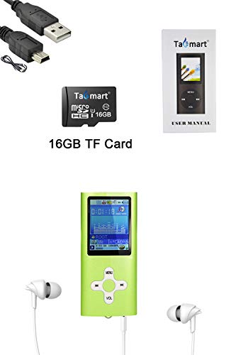 Tabmart MP3 MP4 Musik Player Inklusiv 16 GB MicroSD Unterstützung Audio Player Media Player FM Radio E-Books Integrierter Lautsprecher Lange Akkulaufzeit 1,81 Zoll Farbdisplay Musik Player Grün