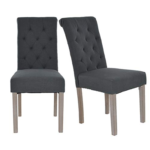 MACOShopde by MACO Möbel Esszimmerstuhl 2er Set Vintage Küchenstühle Stühle mit Polsterung Stoff in anthrazit