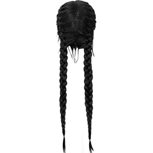 Rosennie Damen Synthetische Haar-Perücke Lange Natürliche Spitze Front Seiten volle Spitze Perücken Frauen schwarz Lange Lockige Perücke Haarnadel für Cosplay Party Fasching Kostüm (A)