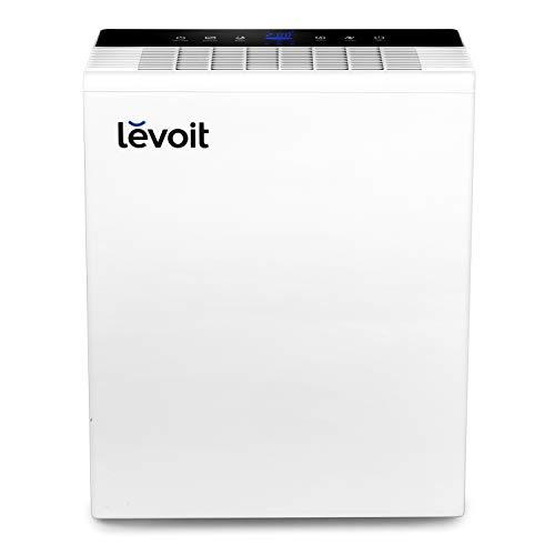 levoit purificador de aire con filtro hepa y carbón activado, hasta 55m², 5 modos y 3 niveles, temporizador, indicador de calidad de aire, captura alergia, polvo, humo, caspa de mascotas, lv-pur131