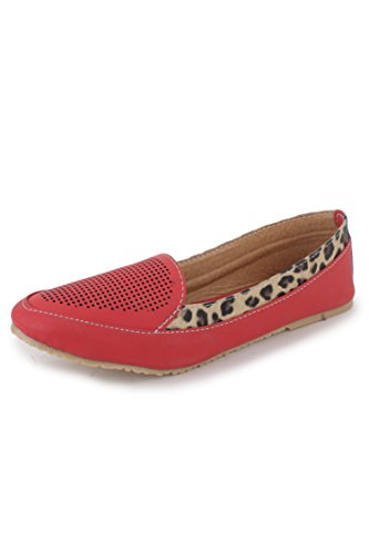 N-Gal Women's Red Synthetic Loafers - 6 UK