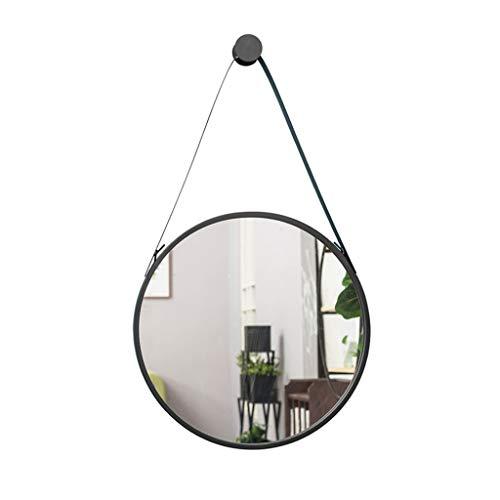 JIANPING Montado en la Pared Espejo Redondo de Hierro Forjado Negro Colgante de Pared hogar baño Dormitorio...
