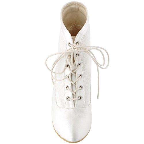 ElegantPark HC1528 Femmes satin Bottes bottines de mariee mariage Ivoire