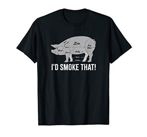 Schwein I'd Smoke That BBQ Grillen Vatertag Rauchen Fleisch T-Shirt (Bier-brenner Elektrische)