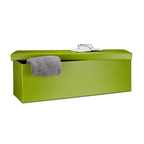 Relaxdays Faltbare Sitzbank HxBxT 38 x 114 x 38 cm, XL Kunstleder Sitztruhe, Aufbewahrungsbox mit Stauraum, grün