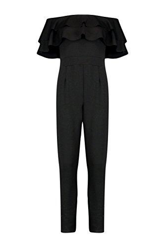 Noir Femme Ava Combinaison Skinny À Double Volants Noir