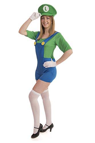 Instant Costumes Super Klempner Brüder Erwachsene Kostüm (Damengröße: 6-8, Grün Damen)