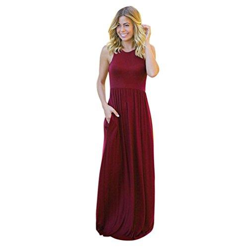 es Einfarbiges Taschenkleid Damen Solide Long Boho Kleid Lady Beach Sommer Sundrss Maxikleid (XL, Wein) ()