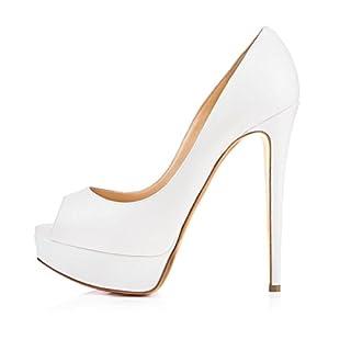 Onlymaker Fashion Damenschuhe High Heels Peep Toe Color Block Pumps mit Plateau Kunstleder Weiss EU36