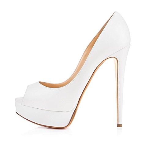 Onlymaker Damen Plateau Peeptoe Pumps Elegante Stiletto High Heels mit Leder- Optik Brautschuhe für Hochzeit Party Weiß 37 EU -