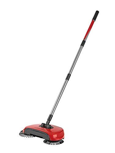 CLEANmaxx 02126 Bodenkehrer rot mit 3 Bürsten, Kehrbesen, Auffangbehälter, Rotierende, Langer Schwenkbarer Stil, Reinignungsmaschine und Kehrset
