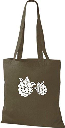 ShirtInStyle Stoffbeutel Baumwolltasche Dein Lieblings Obst und Gemüse Brombeere Farbe Schwarz olive