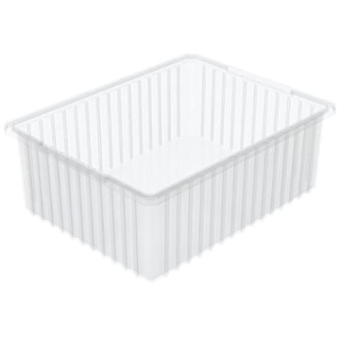 Akro-Mils 33220 22-3/8-InchL by 17-3/8-Inch W by 10-Inch H Akro-Grid Slotted Divider Plastic Tote Box, Clear, by Akro-Mils