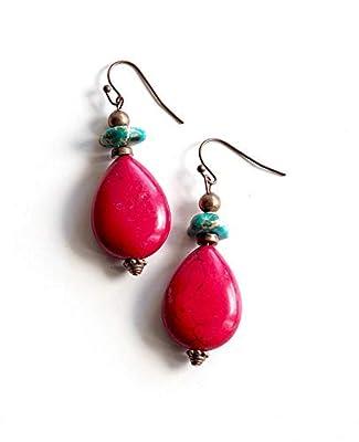 Boucles d'oreilles, Pendantes, Rouge et Régalite turquoise, Cuivre, Faits mains