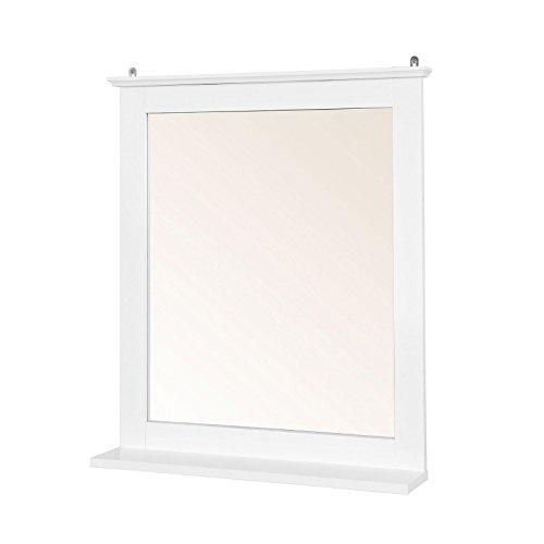 SoBuy® XL Specchio Bagno con ripiano, pensile Bagno,Bianco, FRG235-W,IT