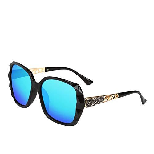 Lazzboy High-end Damen Sonnenbrille Damenmode Polarisierter Retro Sonnenbrillen Marken Metall Rahmen Pilot Platz Spiegel Brillen(Blau)