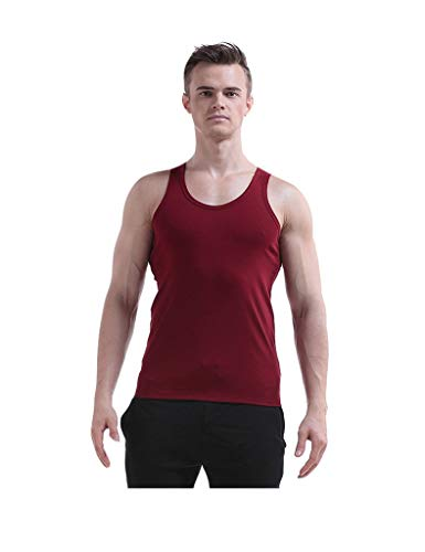 Gift Herren Sport Tee Tank Slim Fit Farbe Solide Sommer Top Bewegung Fashionable Completi Workout Fitness Sleeveless Achselshirt (Color : Rot, Size : M)