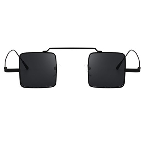 P Prettyia Klassische Retro Metallbrücken quadratische Form Verspiegelt Sonnenbrille für Herren und Damen - Schwarzes Rahmen-Grau-Objektiv