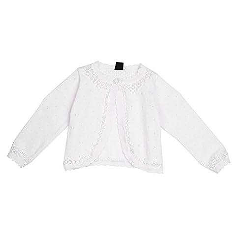 YiZYiF Bébé Fille Cardigan Dentelle Boléro A Manches longue Shrug Veste Costume de Mariage Fleur Baptême Boléro Blanc 6-24 Mois Blanc 18-24 Mois