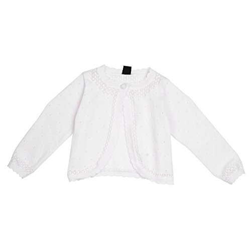 YiZYiF Babykleidung Bolero Jäckchen Pullover Mädchen Strickjacke Knit Schulterjacke perfekt für Taufe Festlich Party Kleid 6-24 Monate Weiß Weiß 80-86 (Herstellergröße: L)