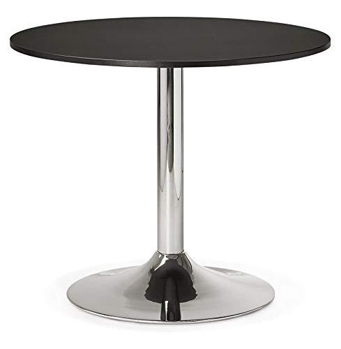 Alterego - Petite Table de Bureau/à Diner Ronde 'SAOPOLO' Noire - Ø 90 cm