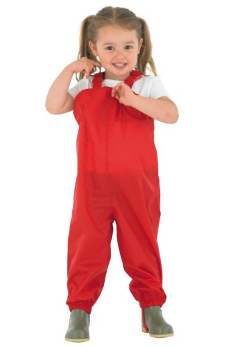 Childrens - Waterproof Dungarees - Red Protective kids overalls rainwear Snow PUDRED-Age 7/8