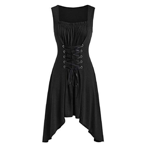 Kostüm Fasnacht Traditionelle - Damen Vintage Steampunk Lolita Strandkleider Sommer Rockabilly Kleider Cosplay Kostüm Fasching Fasnacht Karneval Party Lace Up unregelmäßigen Kleid