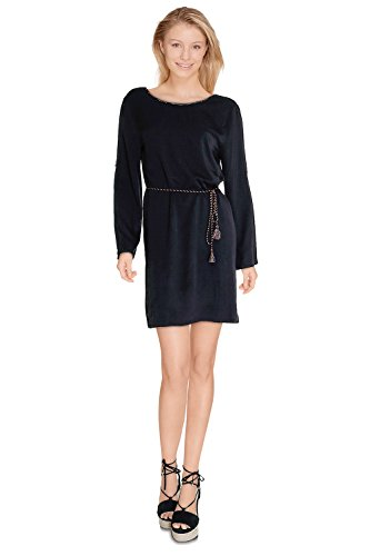 Robe tunique femme fluide avec ceinture incluse Eden – Manches Longues – Cherry Paris – Disponible en 2 couleurs : Noir Marine Noir