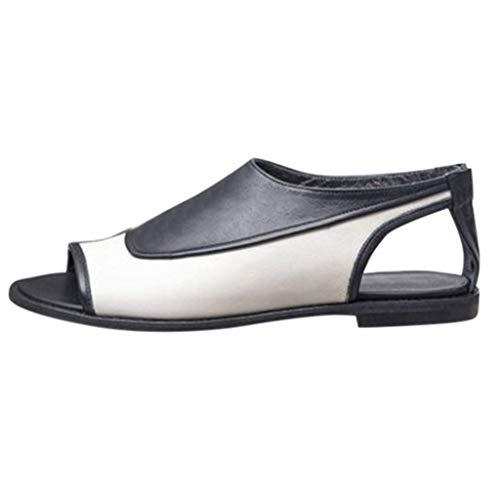 HILOTU Damenmode Lässig Peep Toe Ausschnitt Kurzer Stiefel Kontrastfarbe Flache Sandalen Mit Reißverschluss Hinten (Color : Weiß, Size : 40 EU) - Toe Kurze