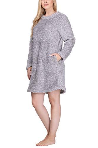 maluuna - Damen Fleece-Kleid, Kuschelkleid, Fleece-Pullover, Loungekleid, Nachthemd, Homewear-Kleid, Fleecekleid, Longshirt, Oversize Shirt, Oversized Pullover, Größe:M, Farbe:Offwhite/braun