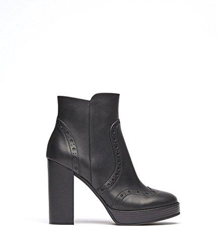 PoiLei Agata - Damen-Schuhe/Budapester High-Heel Stiefelette Aus Echt-Leder - Ankle-Boot mit Block-Absatz IM Seventees-Style - Schwarz (Boots Leder Ankle Echt)