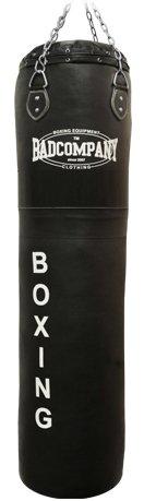 Bad Company Boxsack inkl. Heavy Duty Vierpunkt-Stahlkette I Leder Punching Bag, ungefüllt I 150 x 35 cm - Schwarz
